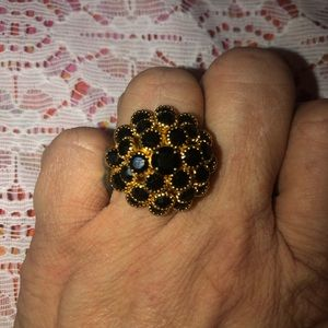 Vintage Judy Lee gold tone cocktail ring size 8